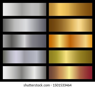 Set of metallic gradients isolated on black background. Shiny metal gradient template. Vector  design.