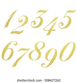 Set of metallic numbers. Vector golden numbers. Gold figures. One. Two. Three. Four. Five Six Seven Eight Nine Zero