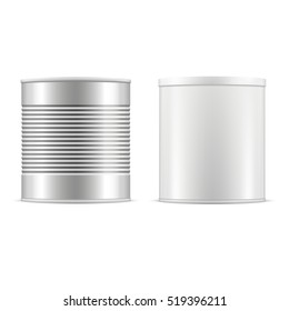 Set of metallic tin cans. Vector illustration.
