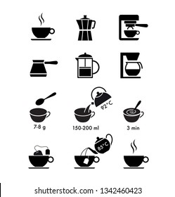 Set of methods of brewing coffee and tea. A set of icons ready to use in your design. Vector elements isolated on white background. EPS10.