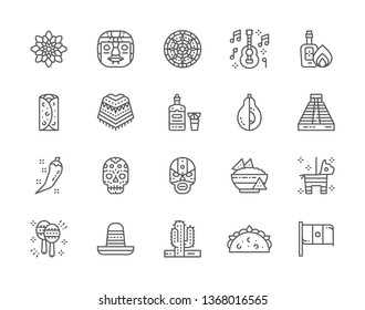 Set of Mexican Culture Line Icons. Ethnic Tribal Mask, Tequila, Burrito, Poncho, Agave, Avocado, Chili Pepper, Nacho Chips, Maracas, Sombrero, Cactus, Taco and more. Pack of 48x48 Pixel Icons