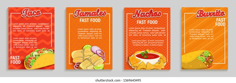 Set of mexican fast food shop flyers,banners.Set of taco,tamales,nachos,burrito menu pages for caffee, resaurant. Takeaway snack,poster,card for cafeteris,truck advertise.Template for design,vector