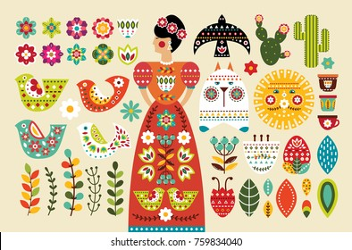 Set Mexican folk elements in flat design. Vector illustration