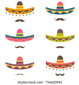 Set of Mexican hats and mustaches