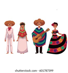 Set of Mexican people, men and women, in traditional national costumes, cartoon vector illustration isolated on white background.