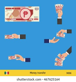Set of Mexican peso. Holding, throwing Mexican peso.