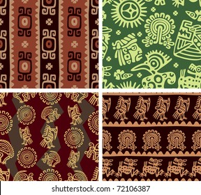 Set of Mexican Seamless Tiles (background, wallpaper, pattern, aztec, american indian)