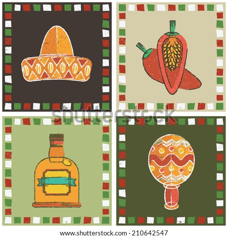 set mexican style frames sombrero chili stock vector royalty free rh shutterstock com