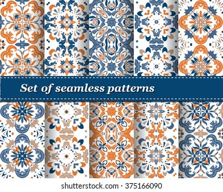 Set of Mexican stylized talavera tiles seamless pattern. Background for design and fashion. Arabic, Indian patterns, Mexican talavera tiles