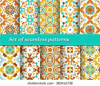 Set of Mexican stylized talavera tiles seamless pattern. Background for design and fashion. Arabic, Indian patterns