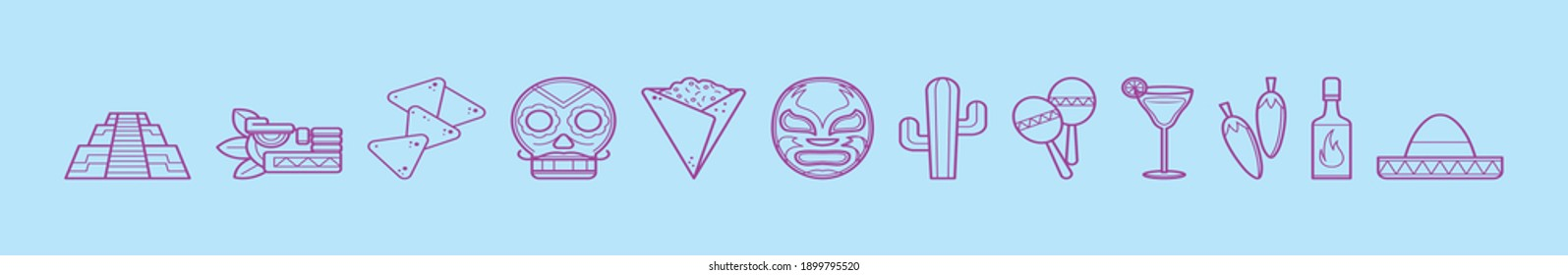 set of mexican symbol cartoon icon design template with various models. modern vector illustration isolated on blue background