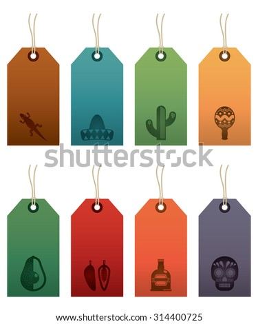 set mexican themed gift tag labels stock vector royalty free