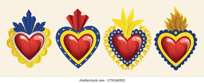 Set of Mexican Traditional Sacred Brass Hearts from San Miguel de Allende; México