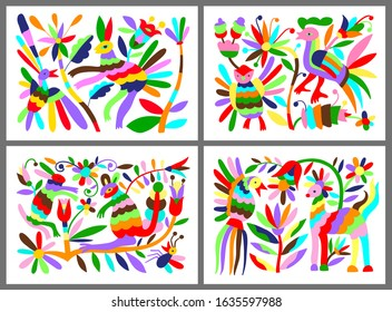 set of mexican tribal embroidary otomi style pattern with bird, animal and flower, vector illustration collection