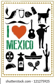 Set of Mexico icons in stencil style, Vector