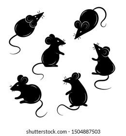 Set of mice on a white background. Collection of mouse silhouettes. Vector illustration.