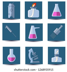 Set of microbiology equipment. Bioreactor, spirit lamp, test tubes, pipette, microscope. Flat vector set. Isolated on white.