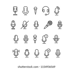 Set Of Microphone Icons Vector Editable Stroke. 48x48 Pixel Perfect.