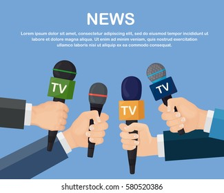 Set of microphone isolated on blue background. Mass media, tv, interview, breaking news, press conference concept. Microphones in reporter hands. Vector illustration. Flat cartoon design.
