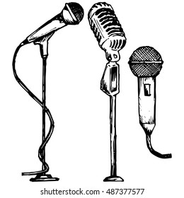Set microphone. Vector illustration, doodle style
