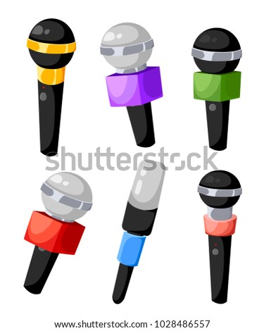 Set Microphones Different Colors TV Radio Stock Vector