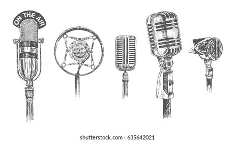 Set of microphones isolated on white background. Retro Vintage doodle hand drawn engraving style vector illustration. Scratch board imitation