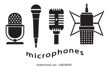 Set of microphones - music - microphone icon - vintage microphone