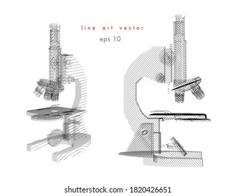 Set of microscope vector illustration in line draw style