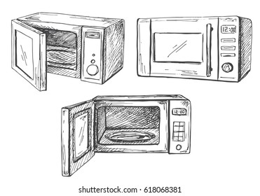 Set microwave oven isolated on white background. Vector illustration of a sketch style.