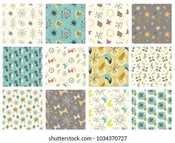 Set of Mid century modern seamless pattern. 1950s vintage style atomic science background, retro vector illustration.
