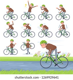 A set of middle Age man on a road bike.There is an action that is enjoying.It's vector art so it's easy to edit.