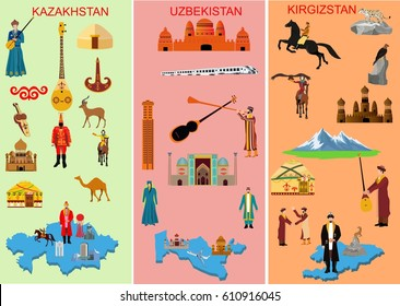 Set of middle asian countries. Kazakhstan. Uzbekistan. Kyrgyzstan. Symbols  of each country. Camel, people in national dress. Historical and, modern building,  Vector illustration