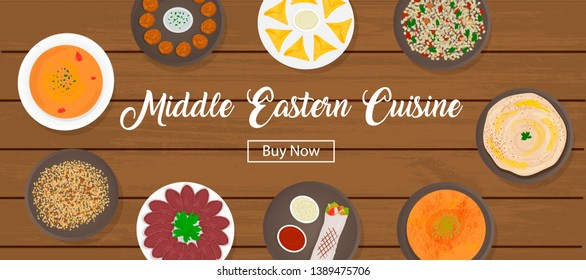 Set of Middle Eastern cuisine. Collection of arabic food -  hummus, shawarma, falafel, lentil soup, tabbouleh, kanafeh, samosa, basturma, mujaddara isolated. For website, advertising. Top view