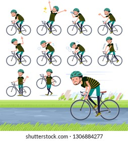 A set of Middle-aged man in sportswear on a road bike.There is an action that is enjoying.It's vector art so it's easy to edit.