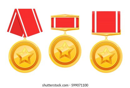 Set of military 3d gold award badges with star and red ribbon isolated on white. Medals collection. Vector illustration