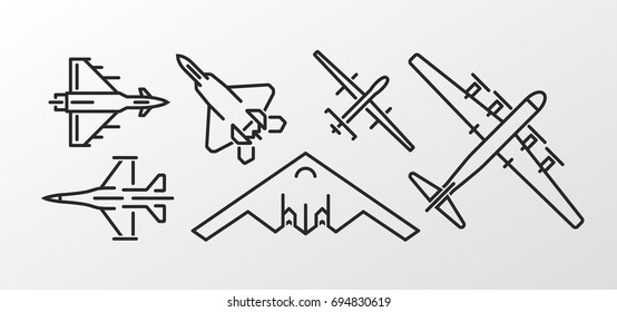 Set of military aircraft outline symbols. Vector icons