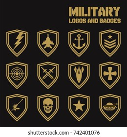 Set of military and armed forces badges and labels logo. Vector Logos Collection Template