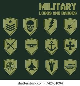 military army like badges logos set stock vector royalty free