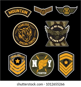 Set of Military and Army Badge and Patches typography, Camouflage With Slogan Army Badges, Pins, Patches Soldier T-shirt and apparels print graphic vector  typography Urban Camo. Skull,tiger, eagle