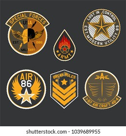 Set of Military and Army Badge and Patches typography, Camouflage With Slogan Army Badges, Pins, Patches Soldier T-shirt and apparels print graphic vector Varsity typography Urban Camo. Skull, wings,