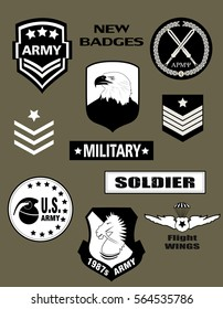 Set of Military and Army Badge and Patches typography black and white, t-shirt graphics, vectors