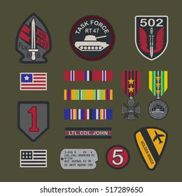 Set of military army badge typography, t-shirt graphics, vectors