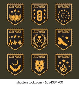 Set of military army badges. Vector illustration.