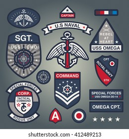 Set Of Military and Army Patches and Badges in Naval style 1
