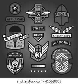 Set Of Military and Army Patches and Badges Monochrome 4