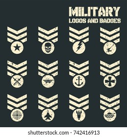 Set Of Military and Army Patches and Badges.  Vector Logos and Icon Collection Template