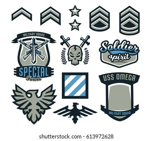 Set of military and military badges. Emblems, automatic weapons, skull, lettering, sword, eagle, wings, templates. Vector illustration, printing on T-shirts
