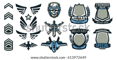 vetor stock de set military military badges emblems automatic livre
