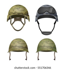 Set of military camouflage helmets in khaki camo colors. Classical d4495e9a815