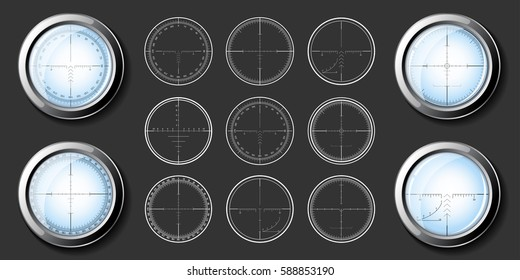Set of military design elements - crosshair sniper scopes. Vector illustration.